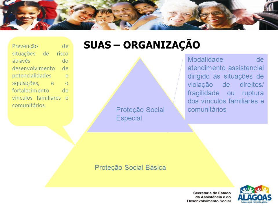 SUAS – ORGANIZAÇÃO Proteção Social Básica Proteção Social Especial Modalidade de atendimento assistencial dirigido às situações de violação de direito
