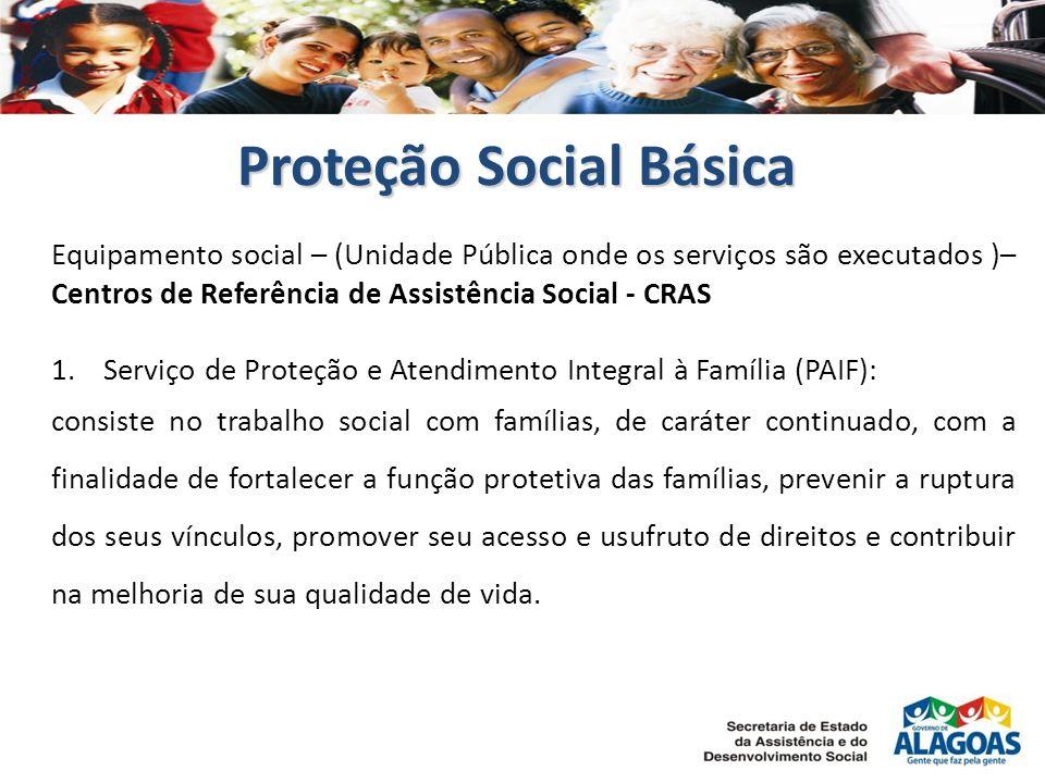 Proteção Social Básica Equipamento social – (Unidade Pública onde os serviços são executados )– Centros de Referência de Assistência Social - CRAS 1.S