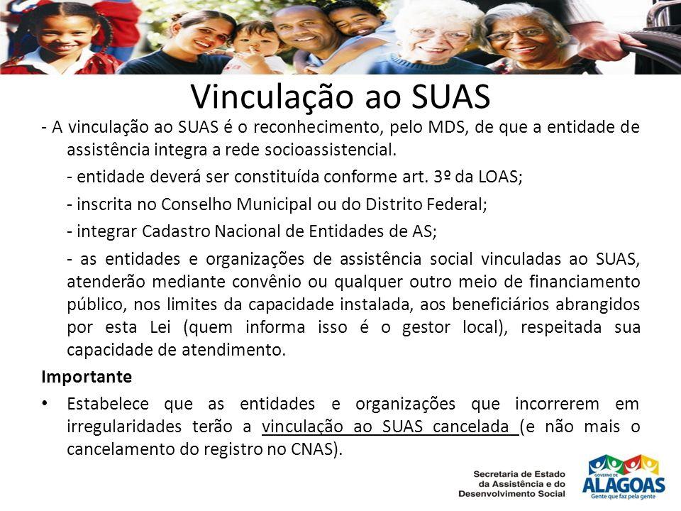 Vinculação ao SUAS - A vinculação ao SUAS é o reconhecimento, pelo MDS, de que a entidade de assistência integra a rede socioassistencial. - entidade