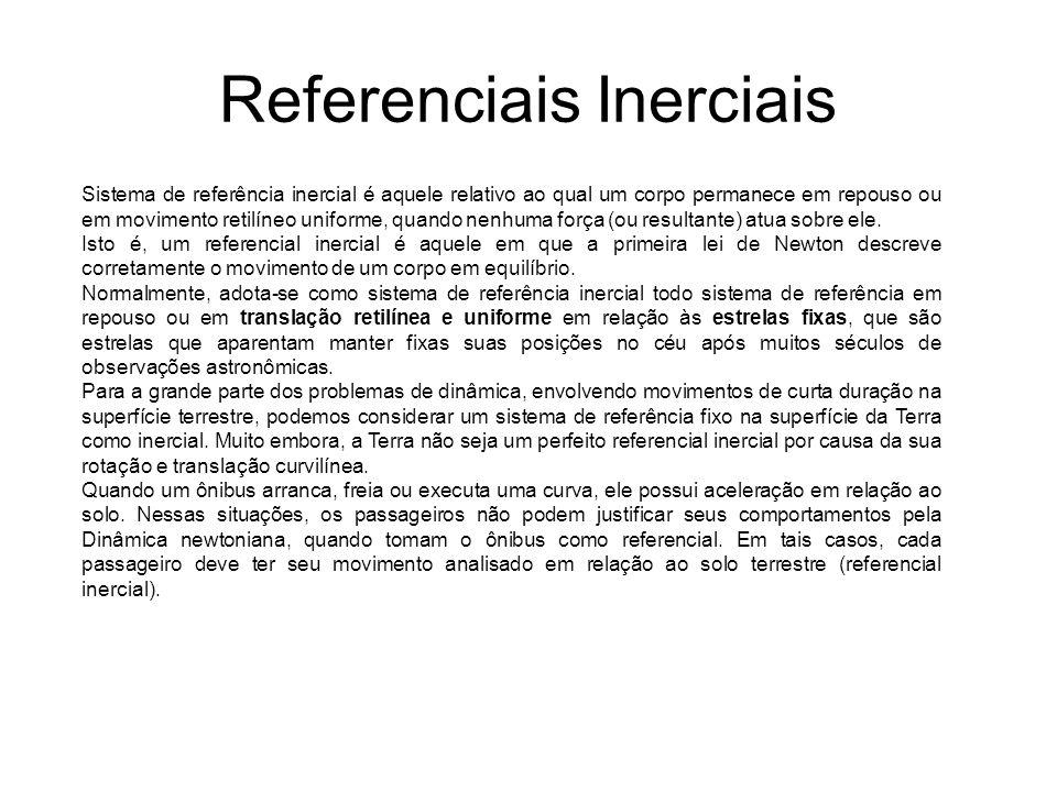 Referenciais Inerciais Sistema de referência inercial é aquele relativo ao qual um corpo permanece em repouso ou em movimento retilíneo uniforme, quan