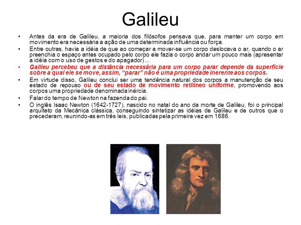 Galileu Antes da era de Galileu, a maioria dos filósofos pensava que, para manter um corpo em movimento era necessária a ação de uma determinada influ