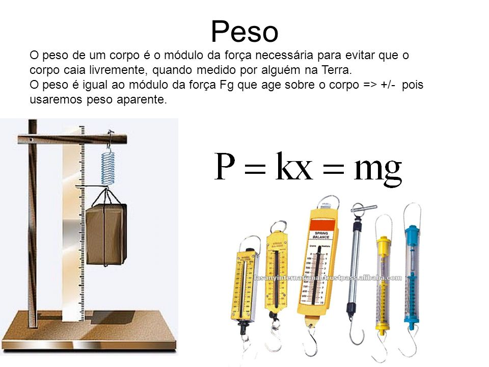 Peso O peso de um corpo é o módulo da força necessária para evitar que o corpo caia livremente, quando medido por alguém na Terra. O peso é igual ao m