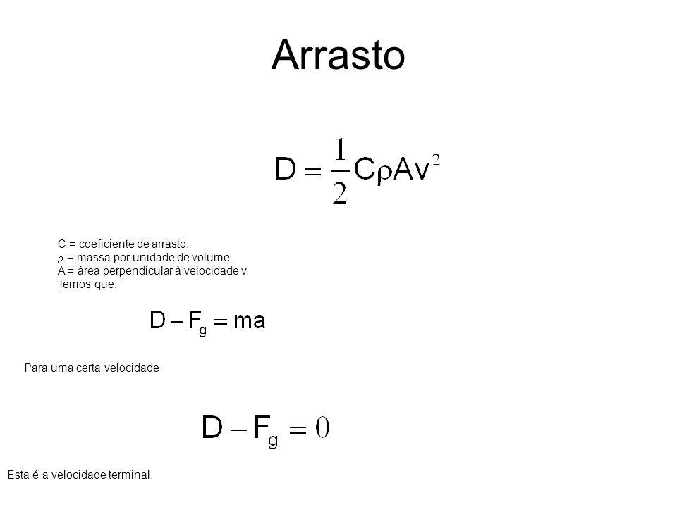 Arrasto C = coeficiente de arrasto. = massa por unidade de volume. A = área perpendicular à velocidade v. Temos que: Para uma certa velocidade Esta é