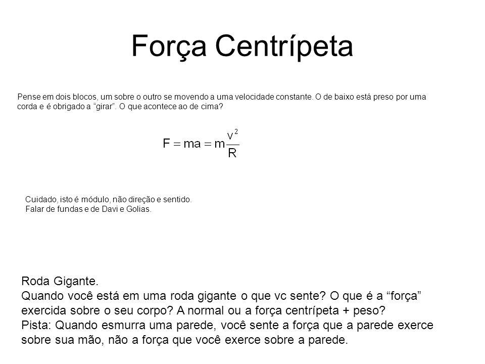 Força Centrípeta Pense em dois blocos, um sobre o outro se movendo a uma velocidade constante. O de baixo está preso por uma corda e é obrigado a gira