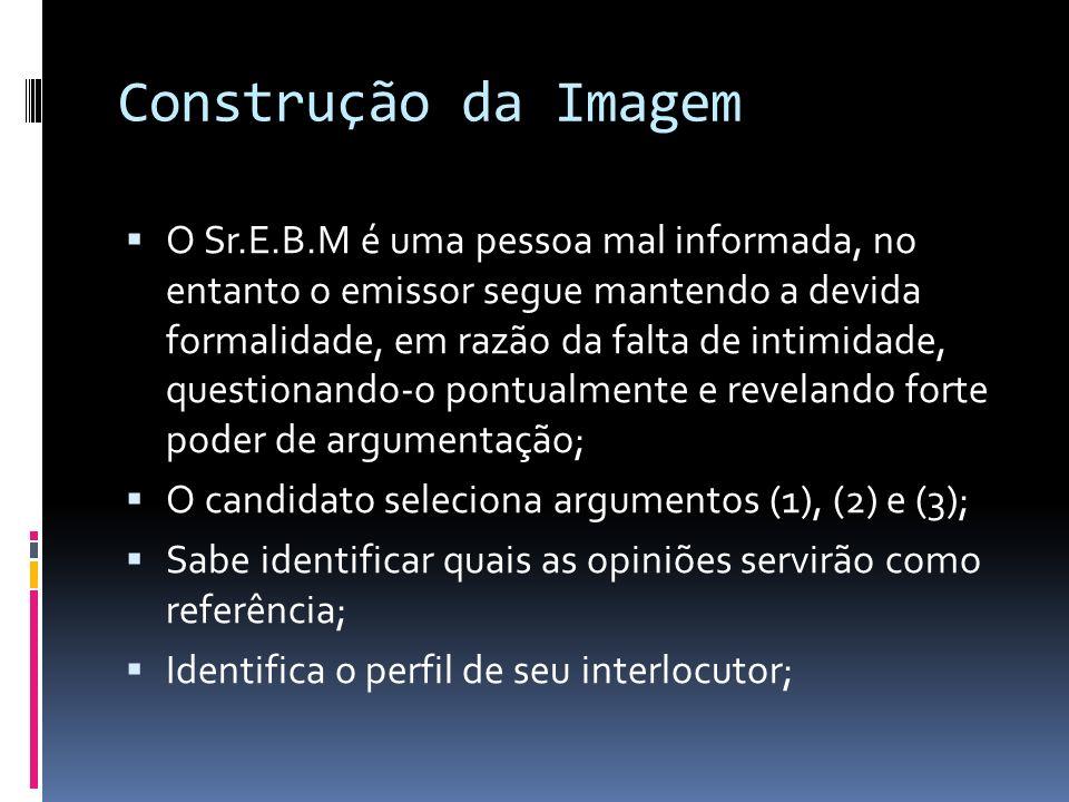 Construção da Imagem O Sr.E.B.M é uma pessoa mal informada, no entanto o emissor segue mantendo a devida formalidade, em razão da falta de intimidade, questionando-o pontualmente e revelando forte poder de argumentação; O candidato seleciona argumentos (1), (2) e (3); Sabe identificar quais as opiniões servirão como referência; Identifica o perfil de seu interlocutor;