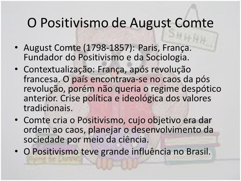 O Positivismo de August Comte August Comte (1798-1857): Paris, França. Fundador do Positivismo e da Sociologia. Contextualização: França, após revoluç
