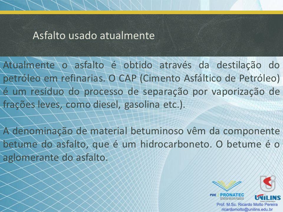 Asfalto usado atualmente Atualmente o asfalto é obtido através da destilação do petróleo em refinarias. O CAP (Cimento Asfáltico de Petróleo) é um res