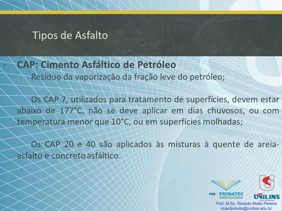 Tipos de Asfalto -ADP: Asfalto Diluído de Petróleo Obtido pela diluição do cimento pelo petróleo; São menos viscosos e possíveis de aplicação à frio; Existem o CR-AD de cura rápida, o qual usa nafta para diluição (CR – 70, CR – 250, CR – 800 e CR – 3000); e o CM-AD de cura média, que usa querosene para diluição (CM – 30, CM – 70, CM – 250, CM – 800 e CM – 3000).