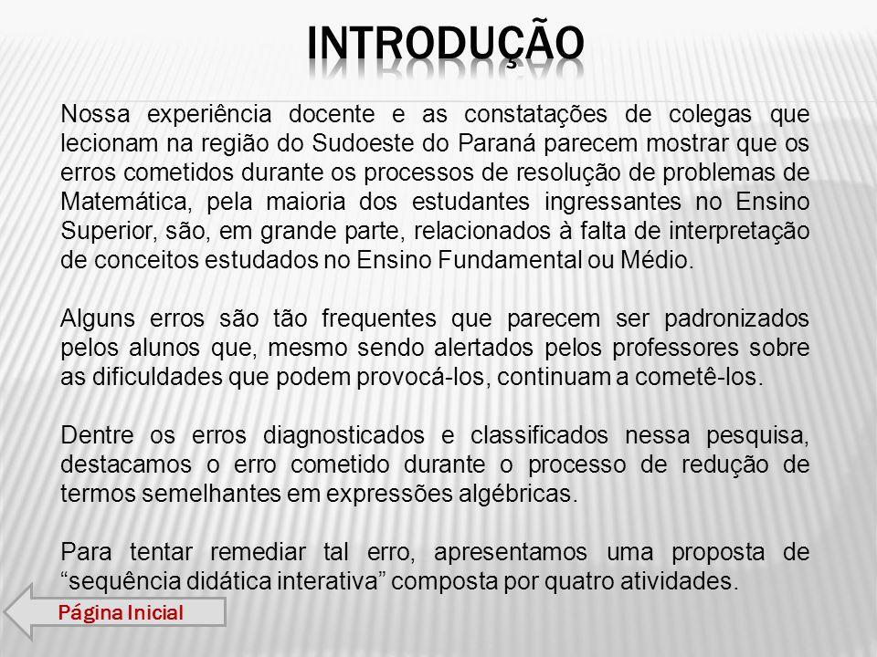 Nossa experiência docente e as constatações de colegas que lecionam na região do Sudoeste do Paraná parecem mostrar que os erros cometidos durante os