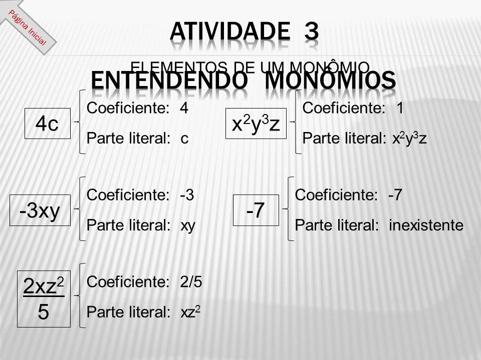 Coeficiente: 4 Parte literal: c ELEMENTOS DE UM MONÔMIO 4c Coeficiente: -3 Parte literal: xy -3xy Coeficiente: 2/5 Parte literal: xz 2 2xz 2 5 Coefici