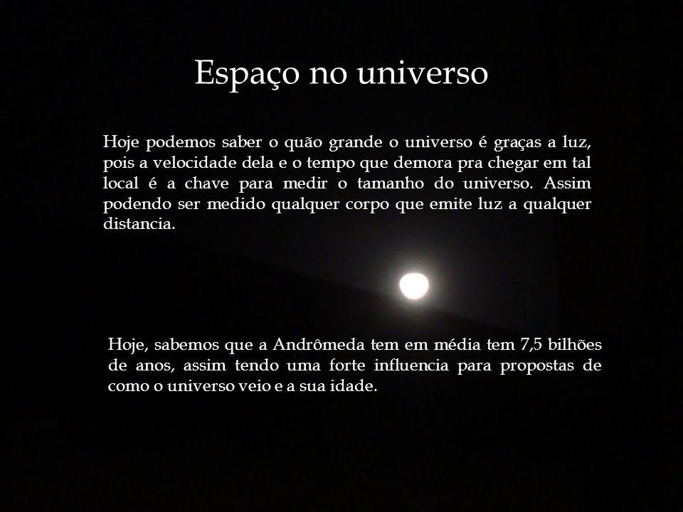 Espaço no universo Hoje podemos saber o quão grande o universo é graças a luz, pois a velocidade dela e o tempo que demora pra chegar em tal local é a