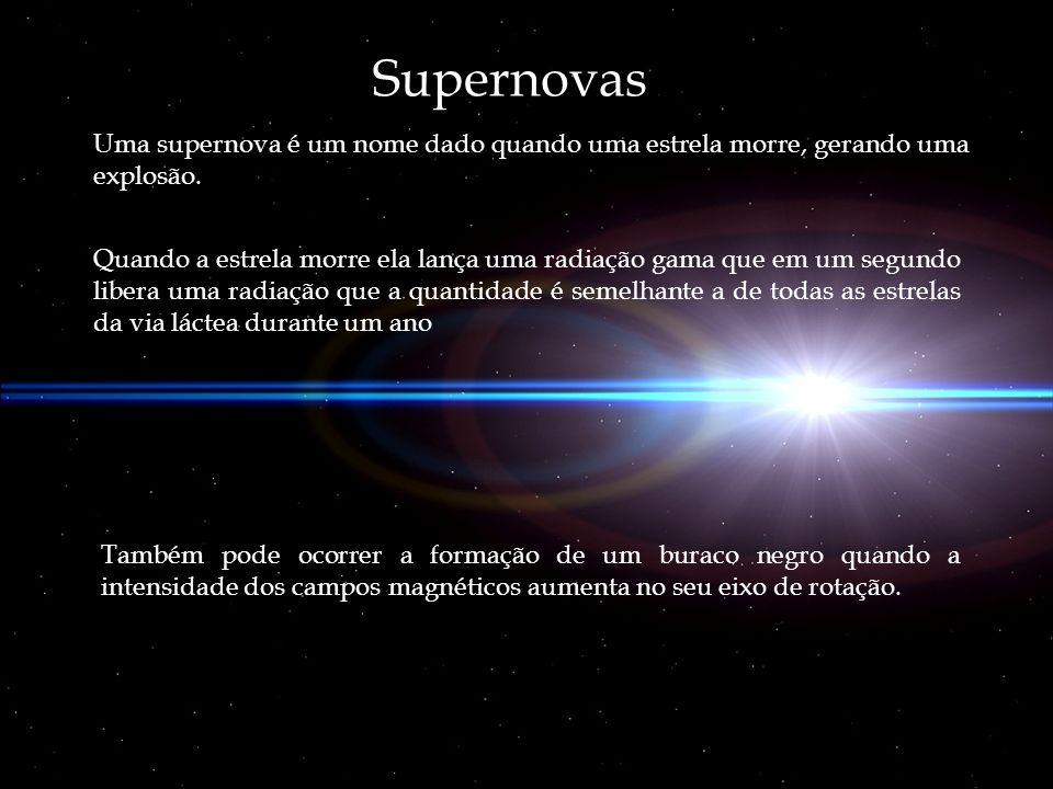Supernovas Uma supernova é um nome dado quando uma estrela morre, gerando uma explosão. Quando a estrela morre ela lança uma radiação gama que em um s