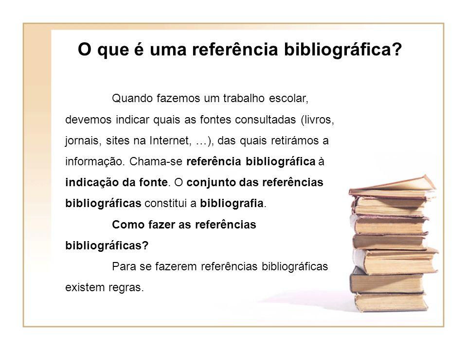 O que é uma referência bibliográfica.