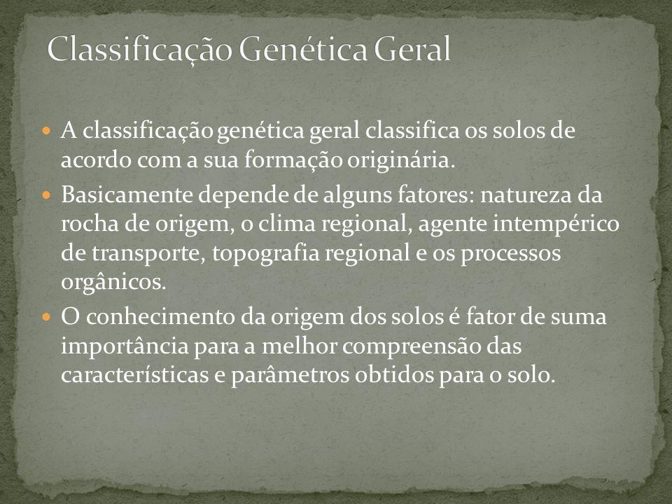 A classificação genética geral classifica os solos de acordo com a sua formação originária. Basicamente depende de alguns fatores: natureza da rocha d