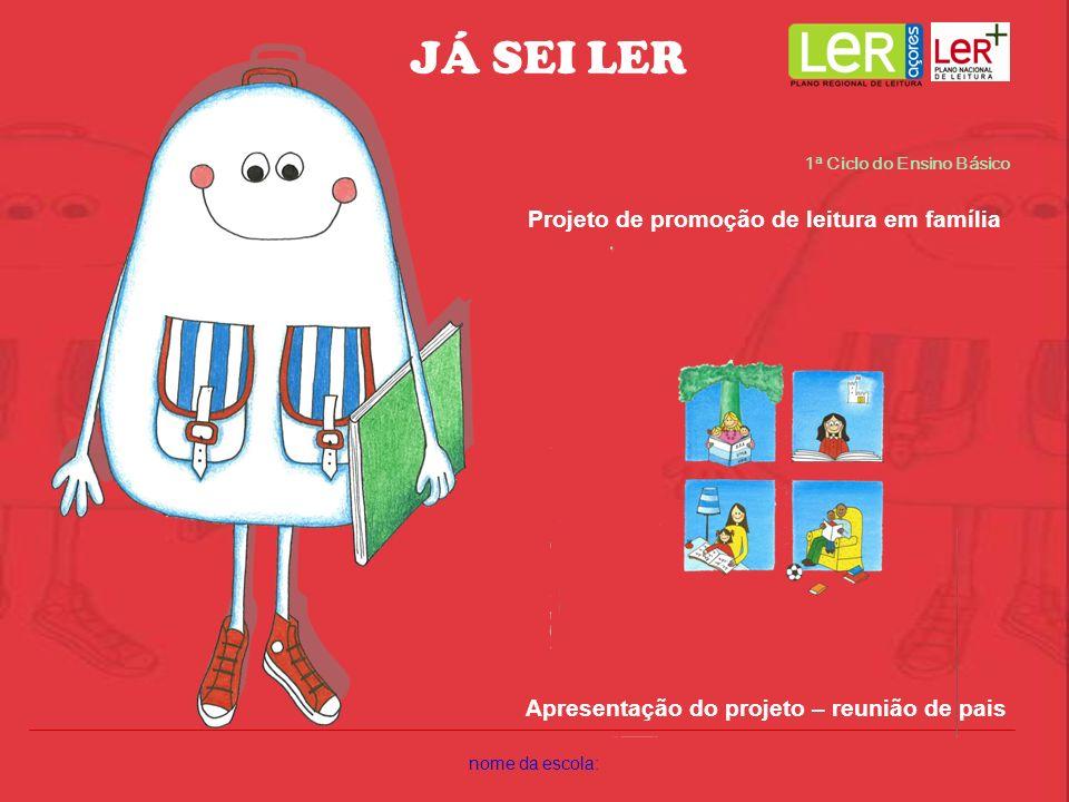nome da escola: 1ª Ciclo do Ensino Básico Projeto de promoção de leitura em família Apresentação do projeto – reunião de pais JÁ SEI LER