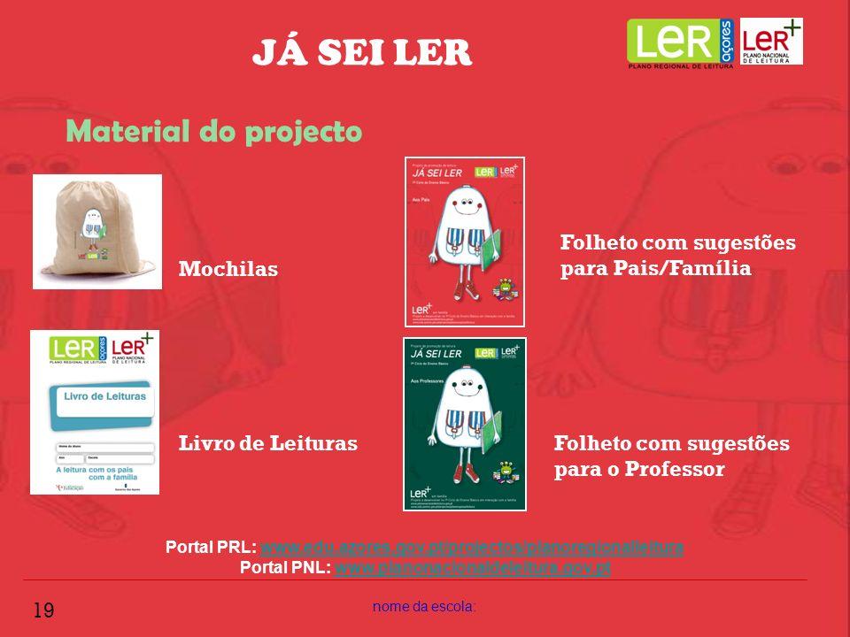 nome da escola: 19 JÁ SEI LER Material do projecto Portal PRL: www.edu.azores.gov.pt/projectos/planoregionalleiturawww.edu.azores.gov.pt/projectos/pla