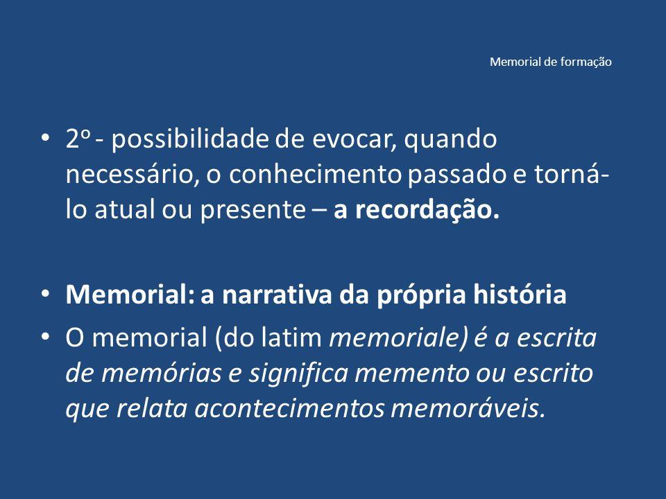 Memorial de formação 2 o - possibilidade de evocar, quando necessário, o conhecimento passado e torná- lo atual ou presente – a recordação.