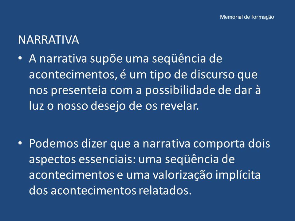 Memorial de formação NARRATIVA A narrativa supõe uma seqüência de acontecimentos, é um tipo de discurso que nos presenteia com a possibilidade de dar à luz o nosso desejo de os revelar.