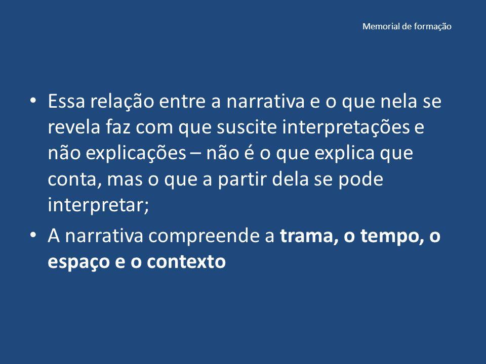 Memorial de formação Essa relação entre a narrativa e o que nela se revela faz com que suscite interpretações e não explicações – não é o que explica que conta, mas o que a partir dela se pode interpretar; A narrativa compreende a trama, o tempo, o espaço e o contexto