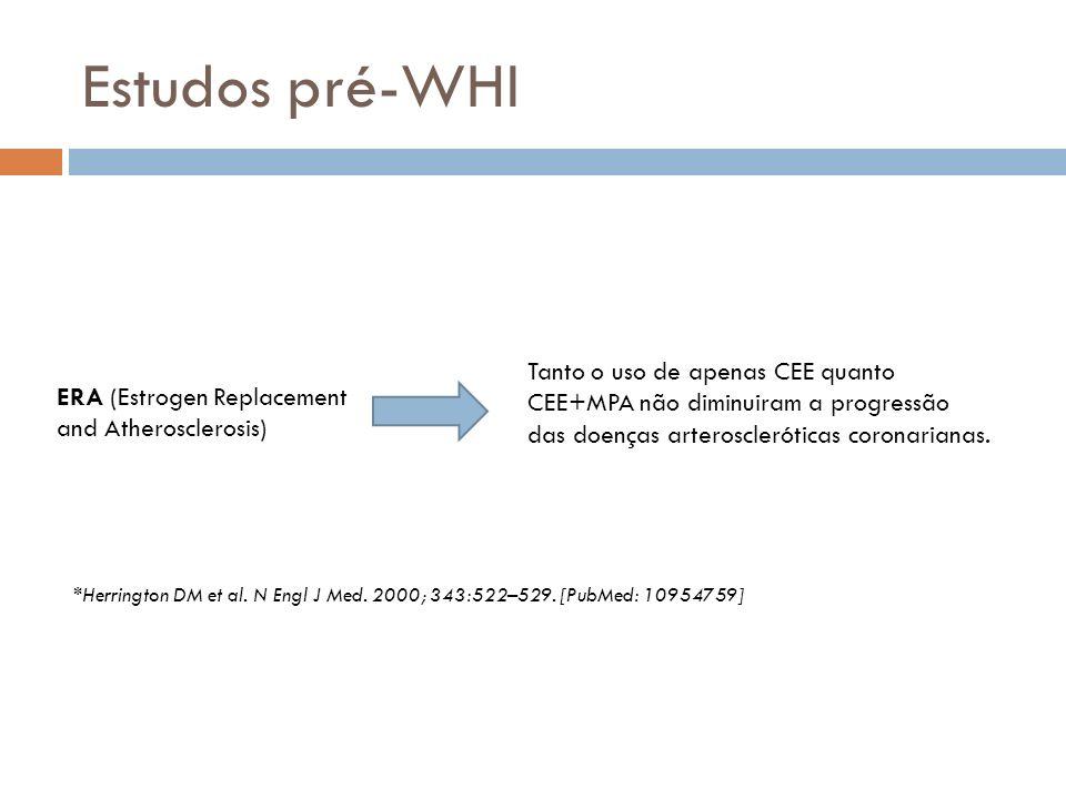 Estudos pré-WHI ERA (Estrogen Replacement and Atherosclerosis) Tanto o uso de apenas CEE quanto CEE+MPA não diminuiram a progressão das doenças arteroscleróticas coronarianas.