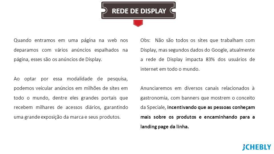 Quando entramos em uma página na web nos deparamos com vários anúncios espalhados na página, esses são os anúncios de Display. Ao optar por essa modal