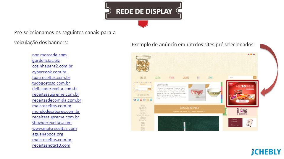 Pré selecionamos os seguintes canais para a veiculação dos banners: noz-moscada.com gordelicias.biz cozinhapara2.com.br cybercook.com.br tuasreceitas.