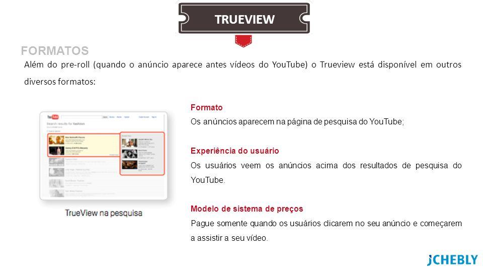 Além do pre-roll (quando o anúncio aparece antes vídeos do YouTube) o Trueview está disponível em outros diversos formatos: Formato Os anúncios aparec
