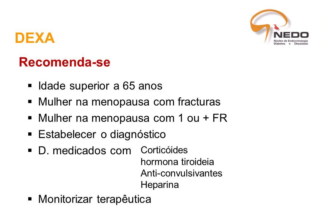 DEXA Idade superior a 65 anos Mulher na menopausa com fracturas Mulher na menopausa com 1 ou + FR Estabelecer o diagnóstico D. medicados com Monitoriz