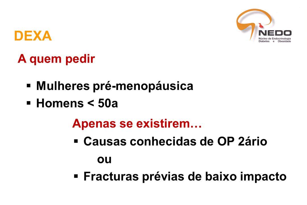 DEXA Mulheres pré-menopáusica Homens < 50a A quem pedir Apenas se existirem… Causas conhecidas de OP 2ário ou Fracturas prévias de baixo impacto