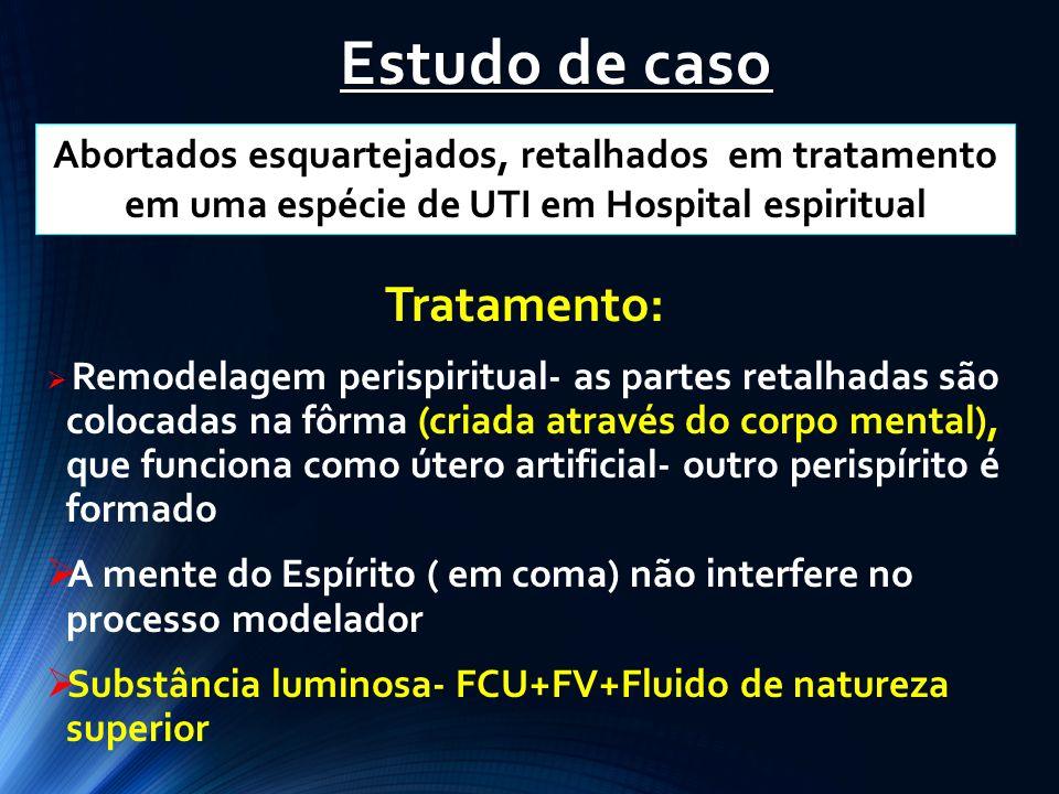 Estudo de caso Tratamento: Remodelagem perispiritual- as partes retalhadas são colocadas na fôrma (criada através do corpo mental), que funciona como