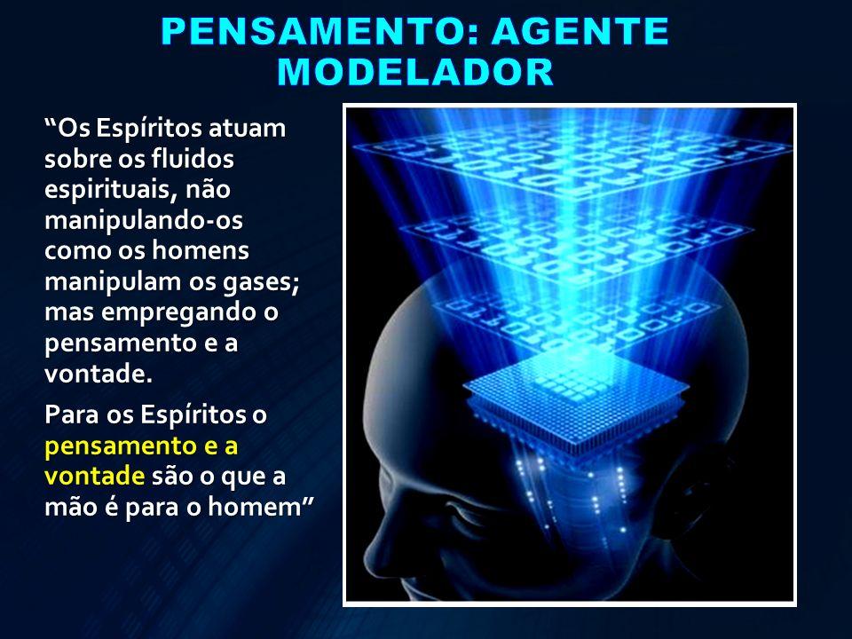 Os Espíritos atuam sobre os fluidos espirituais, não manipulando-os como os homens manipulam os gases; mas empregando o pensamento e a vontade. Para o