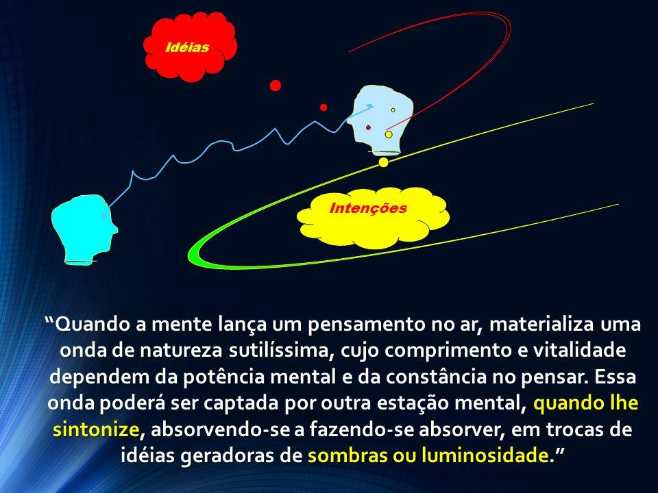 Idéias Intenções Quando a mente lança um pensamento no ar, materializa uma onda de natureza sutilíssima, cujo comprimento e vitalidade dependem da pot