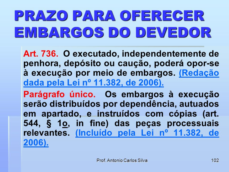 Prof. Antonio Carlos Silva101 Da Citação do Devedor e da Indicação de Bens (Redação dada pela Lei nº 11.382, de 2006). § 4o A intimação do executado f