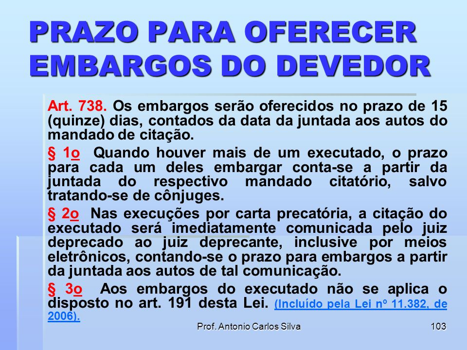 Prof. Antonio Carlos Silva102 PRAZO PARA OFERECER EMBARGOS DO DEVEDOR Art. 736. O executado, independentemente de penhora, depósito ou caução, poderá