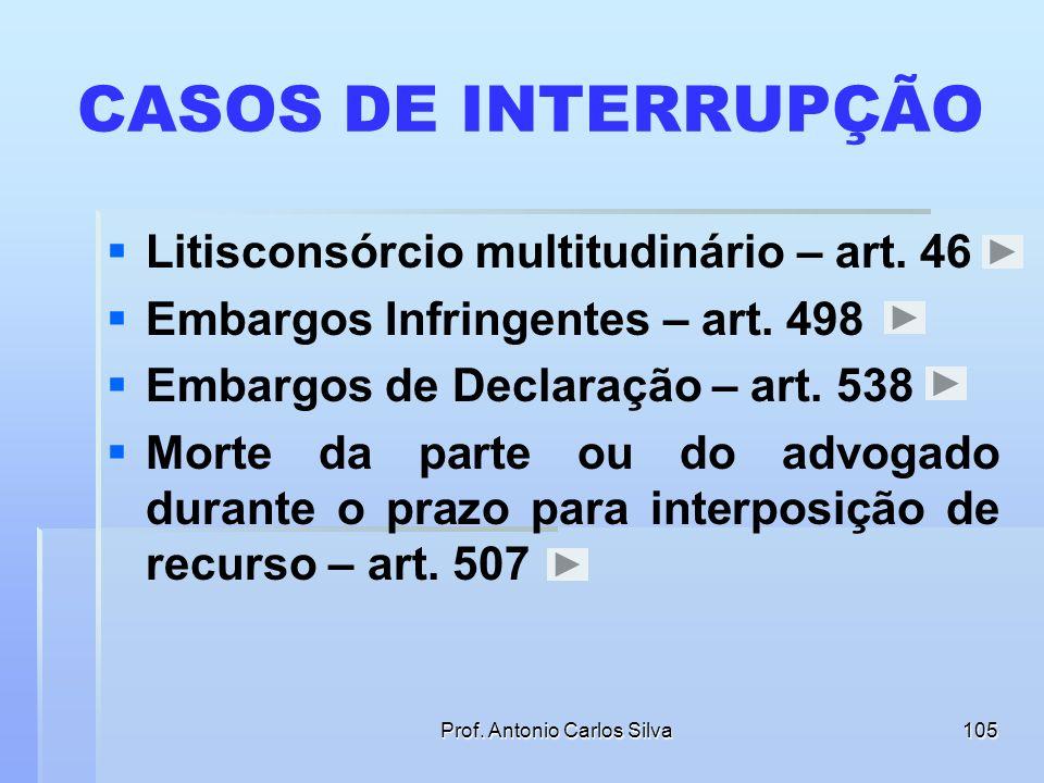 Prof. Antonio Carlos Silva104 INTERRUPÇÃO E SUSPENSÃO DO PRAZO Interromper um prazo significa cortar a sua fluência, cancelando- se o tempo já passado