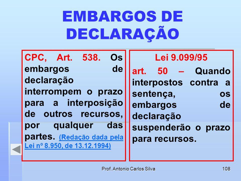 Prof. Antonio Carlos Silva107 EMBARGOS INFRINGENTES Art. 498. Quando o dispositivo do acórdão contiver julgamento por maioria de votos e julgamento un