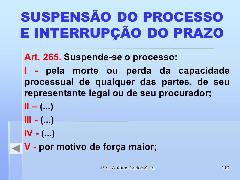 Prof. Antonio Carlos Silva109 SUSPENSÃO DO PROCESSO E INTERRUPÇÃO DO PRAZO Art. 507. Se, durante o prazo para a interposição do recurso, sobrevier o f