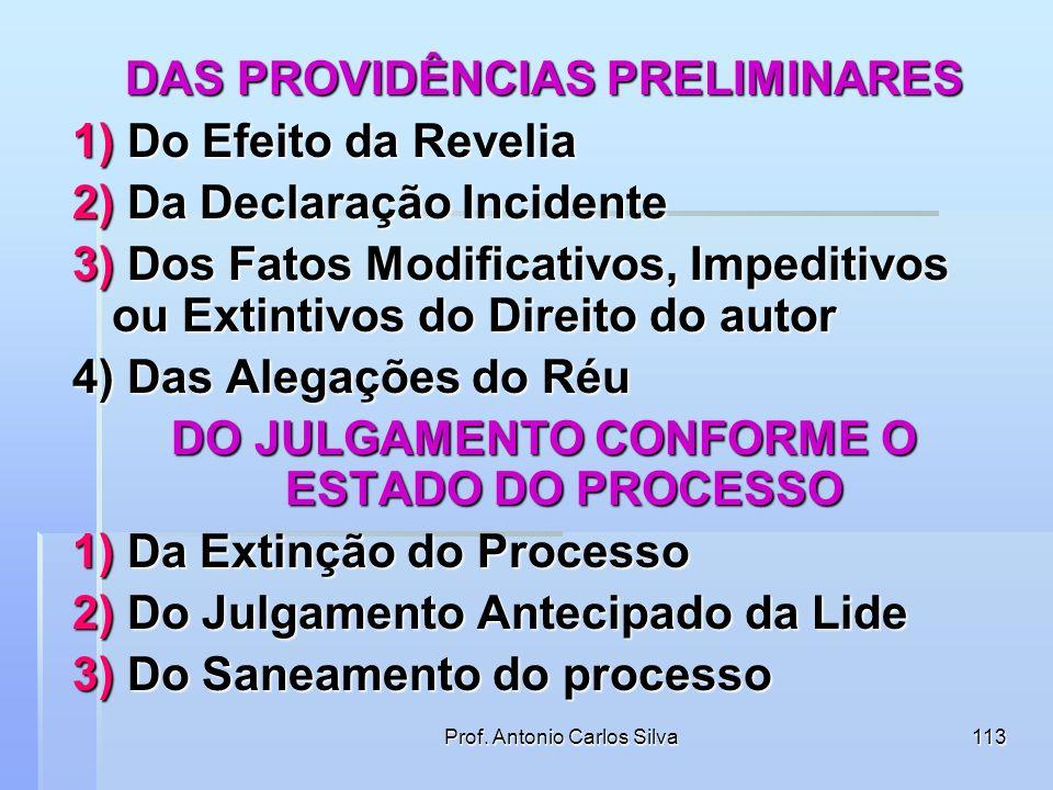 DO SANEAMENTO DO PROCESSO Prof. Antonio Carlos Silva