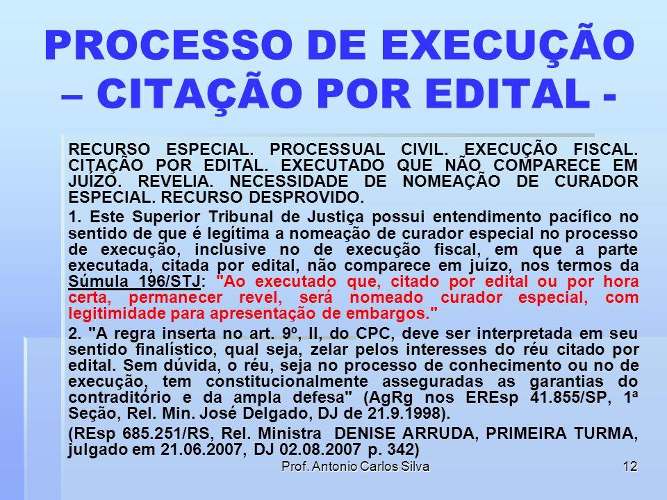 Prof. Antonio Carlos Silva11 No processo de execução, se o devedor for citado por edital o juiz deve nomear-lhe curador especial?