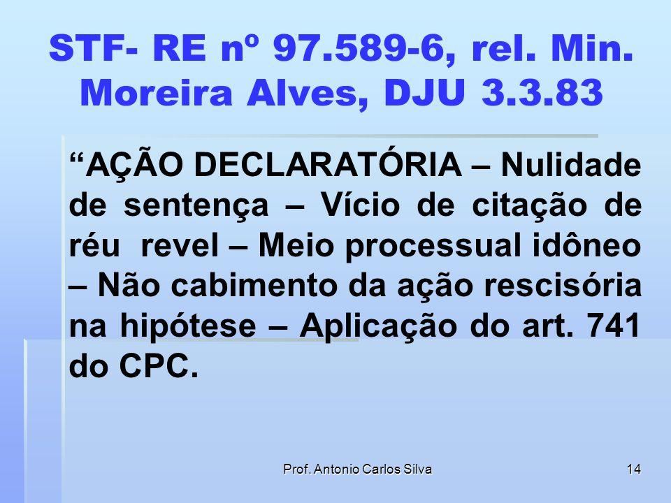 Prof. Antonio Carlos Silva13 QUERELA NULITATIS Art. 214. Para a validade do processo é indispensável a citação inicial do réu. § 1o O comparecimento e