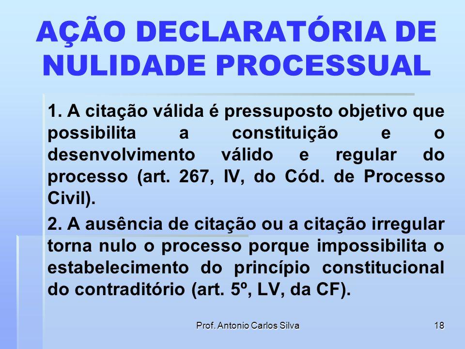 Prof. Antonio Carlos Silva17 AÇÃO DECLARATÓRIA DE NULIDADE PROCESSUAL EMENTA: APELAÇÃO CÍVEL – AÇÃO DECLARATÓRIA – INVESTIGAÇÃO DE PATERNIDADE – NULID