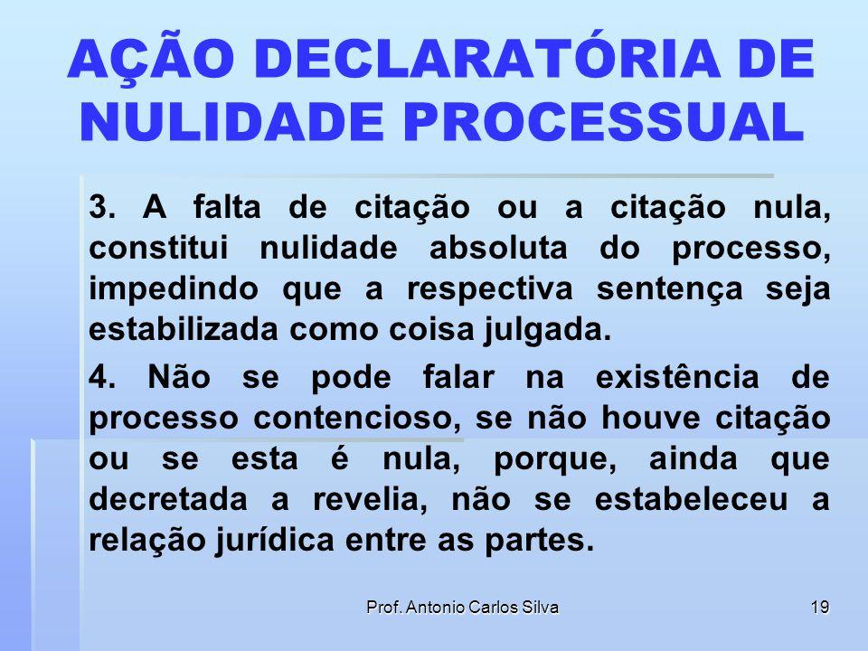 Prof. Antonio Carlos Silva18 AÇÃO DECLARATÓRIA DE NULIDADE PROCESSUAL 1. A citação válida é pressuposto objetivo que possibilita a constituição e o de