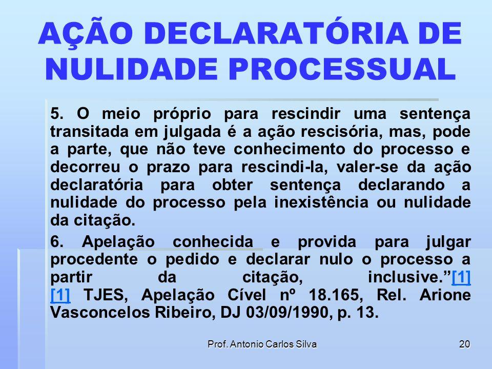 Prof. Antonio Carlos Silva19 AÇÃO DECLARATÓRIA DE NULIDADE PROCESSUAL 3. A falta de citação ou a citação nula, constitui nulidade absoluta do processo