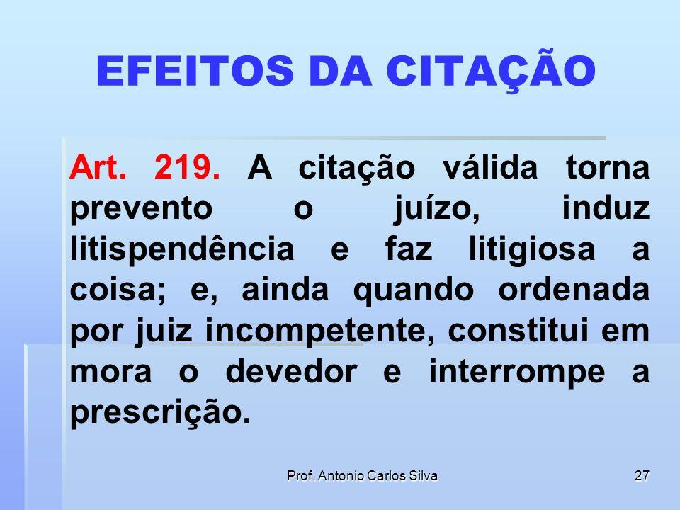 Prof. Antonio Carlos Silva26 CITAÇÃO DE PESSOA JURÍDICA PELO CORREIO PROCESSUAL CIVIL. CITAÇÃO POSTAL. PESSOA JURÍDICA. CABIMENTO. REVELIA. EFEITOS. O