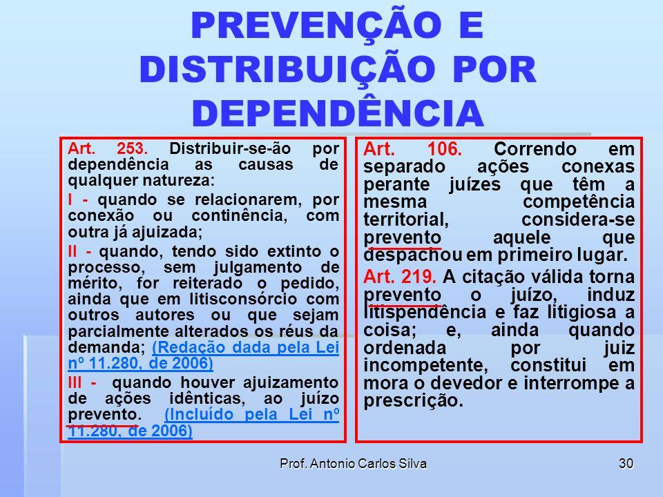 Prof. Antonio Carlos Silva29 Regras de Prevenção JUÍZES QUE TEM A MESMA COMPETÊNCIA TERRITORIAL Será prevento o que despachar em primeiro lugar (CPC,