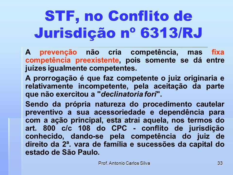 Prof. Antonio Carlos Silva32 RESPOSTA Galeno Lacerda, afirma que se, ao contrário, o réu não declinar de foro, prorroga-se a competência do juízo onde