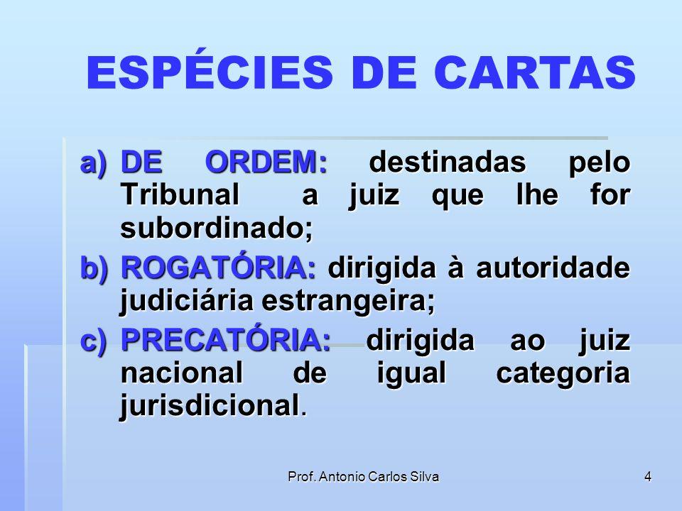 Prof. Antonio Carlos Silva3 ATOS PROCESSUAIS FORA DOS LIMITES TERRITORIAIS DO JUÍZO Face ao princípio da aderência ao território, quando o ato deve se