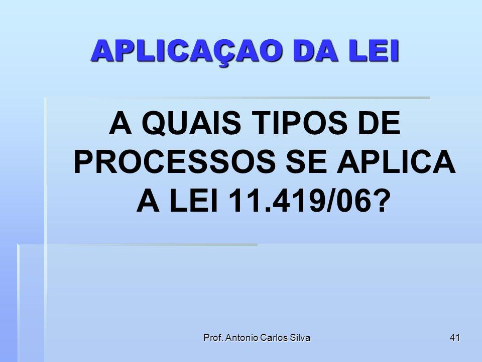 Prof. Antonio Carlos Silva40 A LEI 11.419/06 Institui regras para comunicação de atos processuais por meio eletrônico