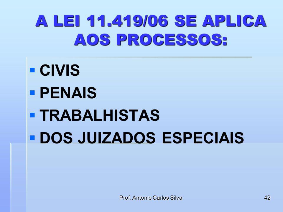 Prof. Antonio Carlos Silva41 APLICAÇAO DA LEI A QUAIS TIPOS DE PROCESSOS SE APLICA A LEI 11.419/06?