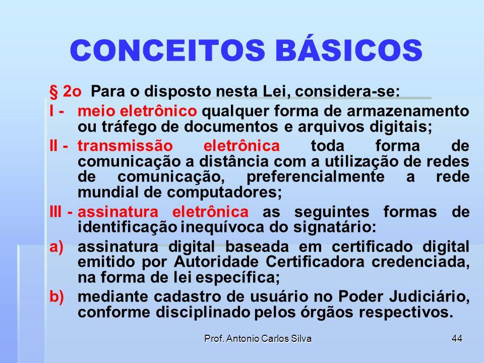 Prof. Antonio Carlos Silva43 APLICAÇÃO DA LEI Art. 1º O uso de meio eletrônico na tramitação de processos judiciais, comunicação de atos e transmissão
